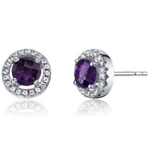 14K White Gold Amethyst Halo Earrings Round Checkerboard Cut 1.00 Carats