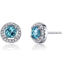 14K White Gold Swiss Blue Topaz Halo Earrings Round Checkerboard Cut 1.00 Carats