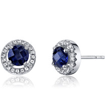 14K White Gold Created Sapphire Halo Earrings Round Checkerboard Cut 1.25 Carats