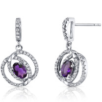 14K White Gold Amethyst Earrings Dual Halo Design 0.75 Carats