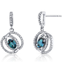 14K White Gold Created Alexandrite Earrings Dual Halo Design 1.00 Carats