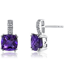 14K White Gold Amethyst Earrings Cushion Checkerboard Cut 4.00 Carats