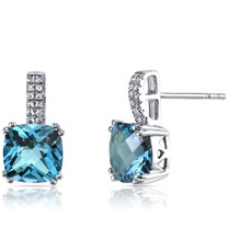 14K White Gold Swiss Blue Topaz Earrings Cushion Checkerboard Cut 5.00 Carats