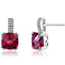 14K White Gold Created Ruby Earrings Cushion Checkerboard Cut 6.00 Carats