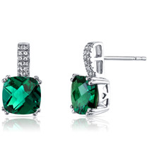 14K White Gold Created Emerald Earrings Cushion Checkerboard Cut 3.50 Carats