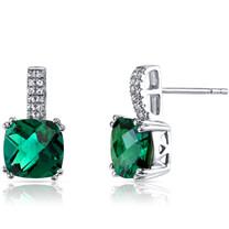 14K White Gold Created Emerald Earrings Cushion Checkerboard Cut 3.50 Carats