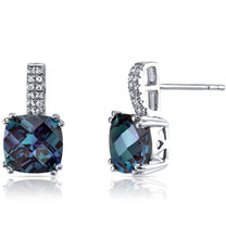 14K White Gold Created Alexandrite Earrings Cushion Checkerboard Cut 5.00 Carats