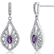 14K White Gold Amethyst Chandelier Earrings 0.50 Carats