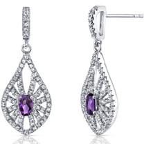 14K White Gold Amethyst Chandelier Earrings 0.50 Carats