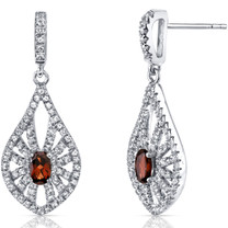 14K White Gold Garnet Chandelier Earrings 0.50 Carats
