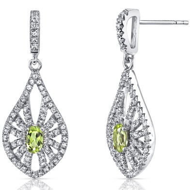 14K White Gold Peridot Chandelier Earrings 0.50 Carats