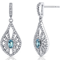 14K White Gold Swiss Blue Topaz Chandelier Earrings 0.50 Carats