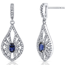 14K White Gold Created Sapphire Chandelier Earrings 0.50 Carats