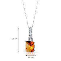 14K White Gold Citrine Pendant Radiant Cut 2.75 Carats