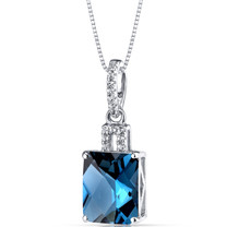 14K White Gold London Blue Topaz Pendant Radiant Cut 3.50 Carats