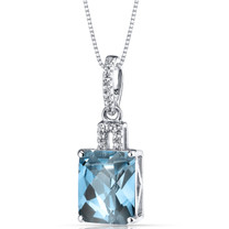 14K White Gold Swiss Blue Topaz Pendant Radiant Cut 3.50 Carats