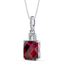 14K White Gold Created Ruby Pendant Radiant Cut 4.00 Carats
