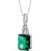 14K White Gold Created Emerald Pendant Radiant Cut 2.50 Carats
