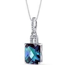 14K White Gold Created Alexandrite Pendant Radiant Cut 3.75 Carats