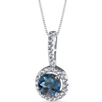 14K White Gold London Blue Topaz Halo Pendant 1.00 Carats