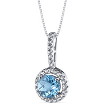14K White Gold Swiss Blue Topaz Halo Pendant 1.00 Carats