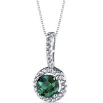 14K White Gold Created Emerald Halo Pendant 0.75 Carats