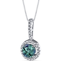 14K White Gold Created Alexandrite Halo Pendant 1.00 Carats