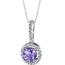 14K White Gold Tanzanite Halo Pendant Round Cut 1.00 Carats