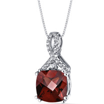 14K White Gold Garnet Pendant Ribbon Design Cushion Cut 3.75 Carats