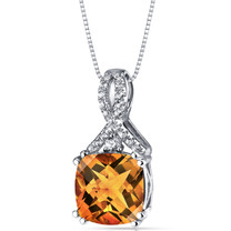 14K White Gold Citrine Pendant Ribbon Design Cushion Cut 2.75 Carats