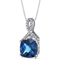 14K White Gold London Blue Topaz Pendant Ribbon Design Cushion Cut 3.50 Carats