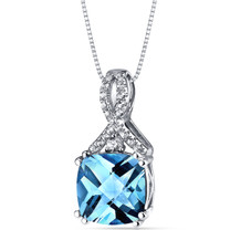 14K White Gold Swiss Blue Topaz Pendant Ribbon Design Cushion Cut 3.50 Carats