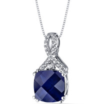 14K White Gold Created Sapphire Pendant Ribbon Design Cushion Cut 4.25 Carats