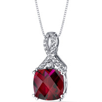 14K White Gold Created Ruby Pendant Ribbon Design Cushion Cut 4.00 Carats
