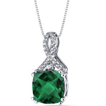 14K White Gold Created Emerald Pendant Ribbon Design Cushion Cut 2.50 Carats