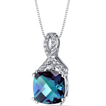 14K White Gold Created Alexandrite Pendant Ribbon Design Cushion Cut 3.50 Carats