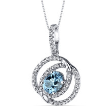 14K White Gold Swiss Blue Topaz Pendant Dual Halo Design 1.25 Carats