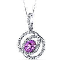 14K White Gold Created Pink Sapphire Pendant Dual Halo Design 1.50 Carats