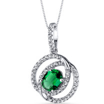 14K White Gold Created Emerald Pendant Dual Halo Design 1.25 Carats