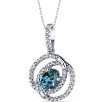 14K White Gold Created Alexandrite Pendant Dual Halo Design 1.50 Carats