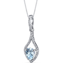 14K White Gold Aquamarine Tear Drop Pendant 0.50 Carats