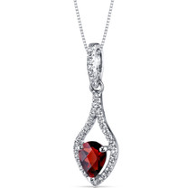 14K White Gold Garnet Tear Drop Pendant Checkerboard 0.75 Carats
