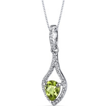 14K White Gold Peridot Tear Drop Pendant Checkerboard 0.75 Carats