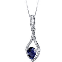 14K White Gold Created Sapphire Tear Drop Pendant Checkerboard 1.00 Carats