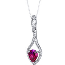 14K White Gold Created Ruby Tear Drop Pendant Checkerboard 1.00 Carats