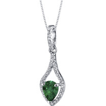 14K White Gold Created Emerald Tear Drop Pendant Checkerboard 0.75 Carats
