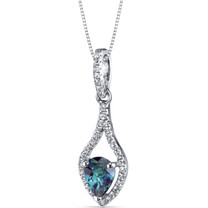 14K White Gold Created Alexandrite Tear Drop Pendant Checkerboard 1.00 Carats