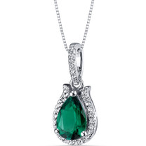 14K White Gold Created Emerald Open Halo Pendant Tear Drop 1.25 Carats