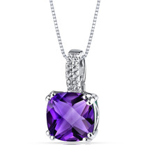 14K White Gold Amethyst Pendant Cushion Checkerboard Cut 2.75 Carats