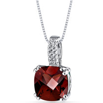 14K White Gold Garnet Pendant Cushion Checkerboard Cut 3.75 Carats